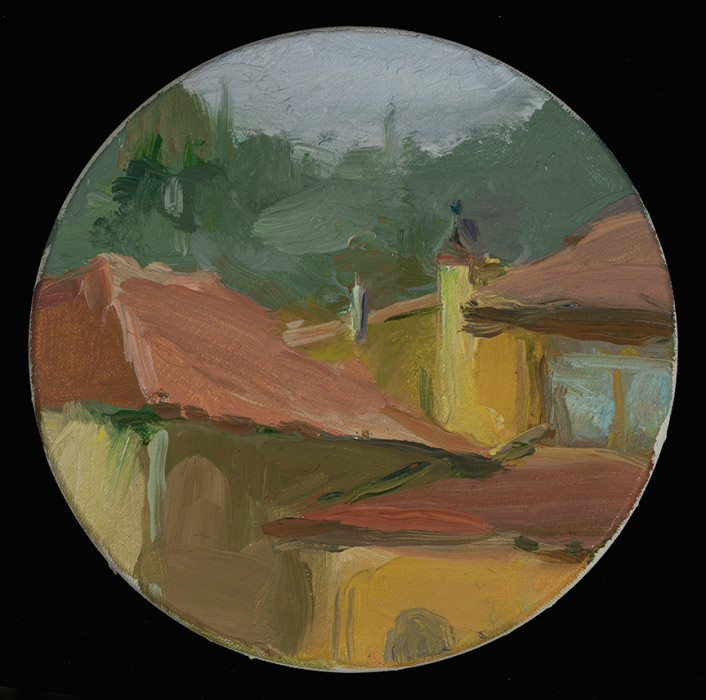 Christine Lafuente, Tuscan Rooftops, 2012, oil on linen, 4 inches in diameter