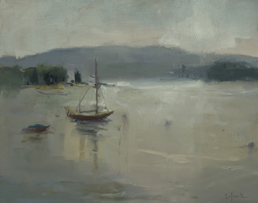 Christine Lafuente, View from the Moorings at Dawn, 2012, oil on mounted linen, 11 x 14 inches