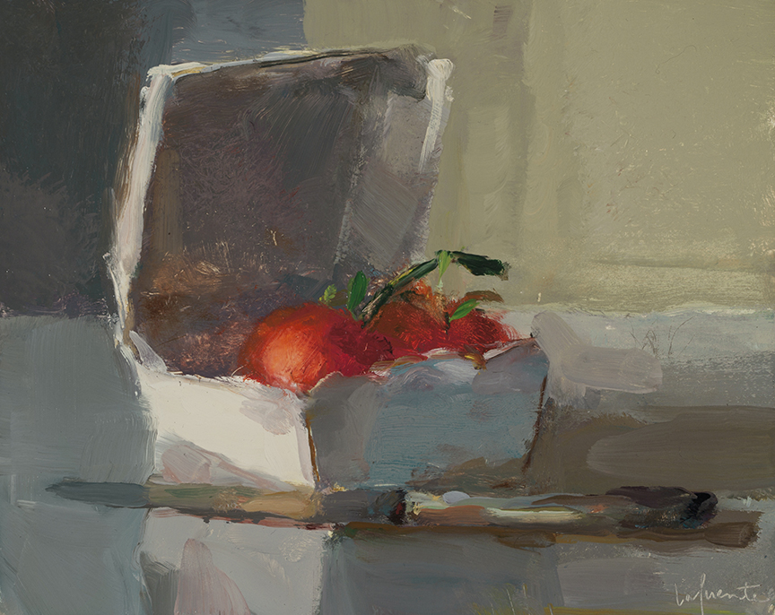 Christine Lafuente, Vine Tomatoes and Knife, 2012, oil on board, 8 x 10 inches