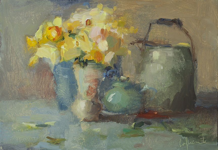 Christine Lafuente, Wild Daffodils and Jar, oil on board, 9 x 13 inches