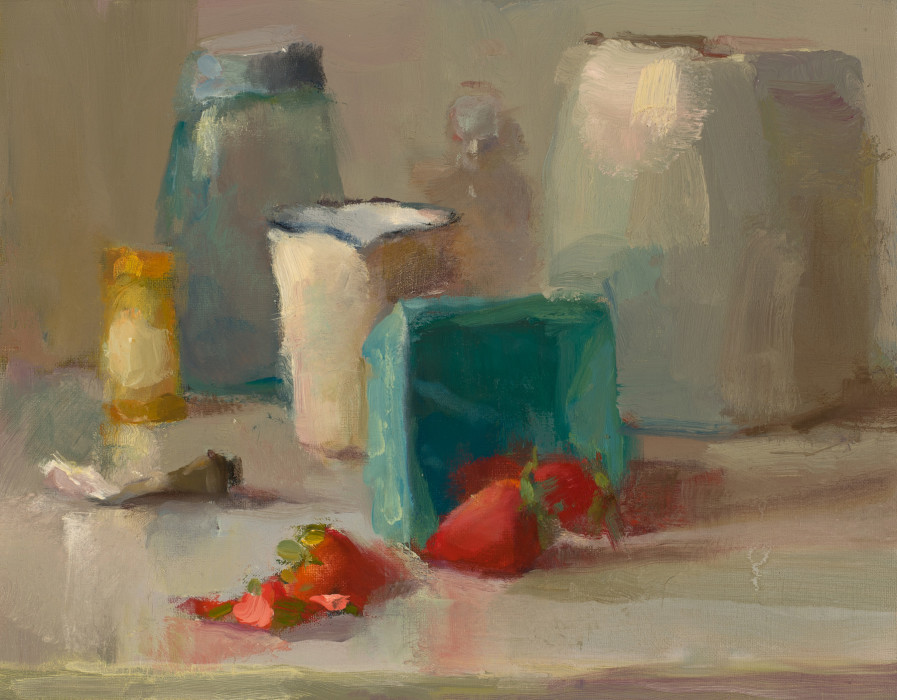 Christine Lafuente, Spilled Strawberries, oil on mounted linen, 11 x 14 inches