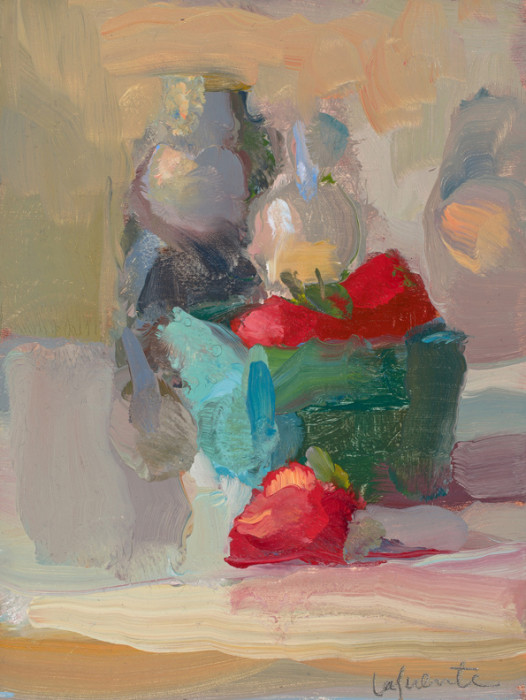 Christine Lafuente, Strawberries and Bottles, oil on board, 8 x 6 inches