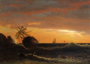 Albert Bierstadt, Beached Ship, 1859, oil on canvas, 21 1:4 x 17 inches