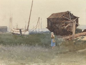 Dennis Miller Bunker, The Fisher Girl, Nantucket, 1881, watercolor, 12 1:2 x 9 1:2 inches