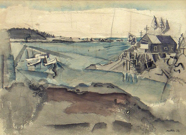 John Marin, Fell Plummer's Wharf, Cape Split, 1933, watercolor, 20 1:2 x 14 3:4 inches