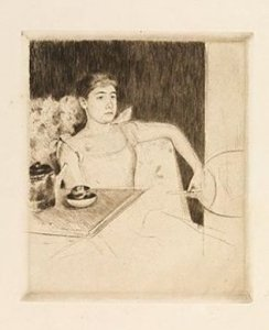 Mary Cassatt, Tea, c. 1890, drypoint on paper, 7 1/8 x 6 1/8 inches