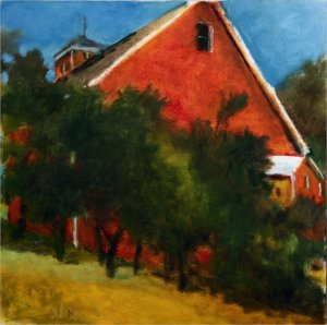 Wolf Kahn, Red Barn in New Hampshire Seen from Below, 2009, oil on canvas, 28 x 28 inches