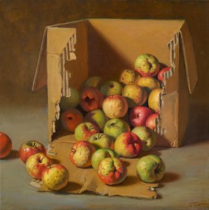 Stephen Tanis, Box of Apples, oil on canvas, 16 x 16 inches