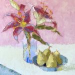 Carol Maguire, Lilies with Pears, Oil on panel, 20 x 16 inches