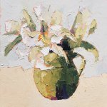 Carol Maguire, Lillies in Green, oil on canvas, 12 x 12 inches