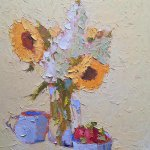 Carol Maguire, Sunflowers & Sugar Bowl, oil on canvas, 20 x 16 inches