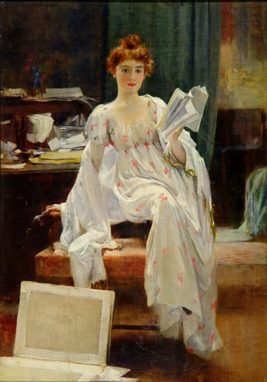 Francis Coates Jones Interesting News Oil on canvas 14 x 20 inches