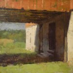 Jon Redmond, Bank Barn, 2012, oil on panel, 10 x 10 inches