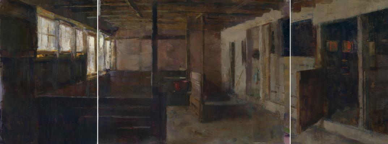 Jon Redmond, Barn Triptych, oil on board, 19 x 50 inches