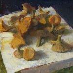 Jon Redmond, Chanterelles, oil on board, 10 x 10 inches