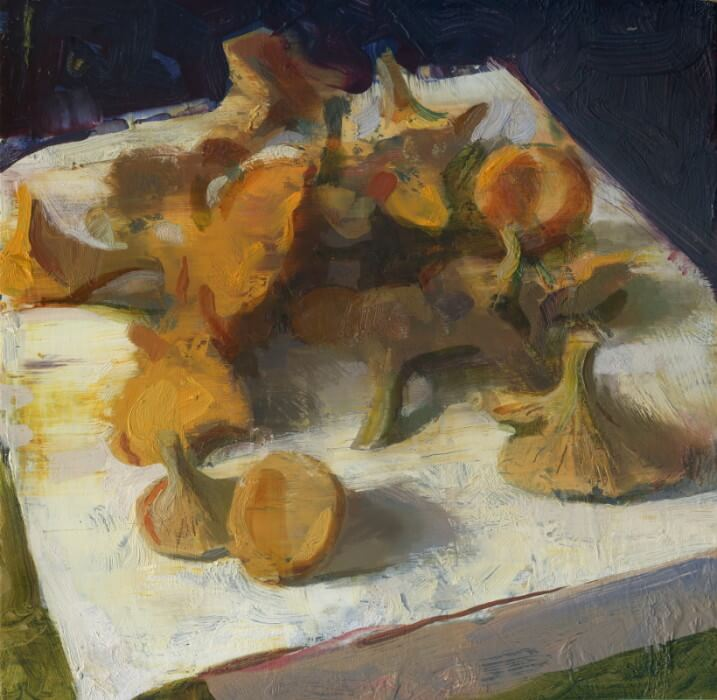 Jon Redmond, Chanterelles, oil on board, 10 x 10 inches