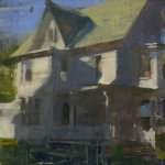 Jon Redmond, Evening in West Chester, oil on board, 10 x 10 inches