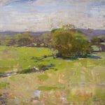 Jon Redmond, The Beginning of Green, 2013, oil on board, 18 x 17 inches