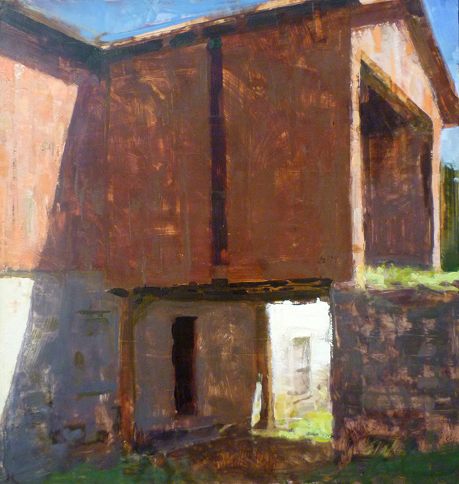 Jon Redmond - The Red Barn, 2013, oil on board, 18 x 17 inches