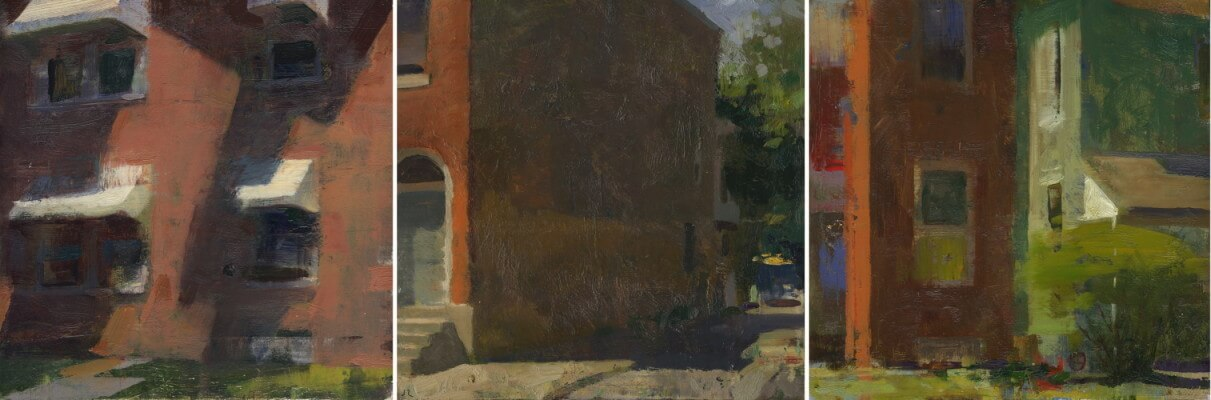 Jon Redmond, West Chester Triptych, oil on board, 10 x 30 inches