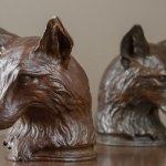 Rikki Morley Saunders, Fox Bookend, 2012, bronze, 7 1/2 x 6 x 5 3/4 inches
