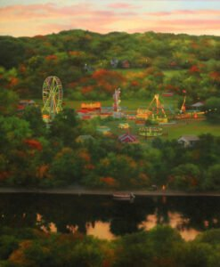Scott Prior, Fairgrounds by the River, 2018, Oil on panel, 20 x 16 inches