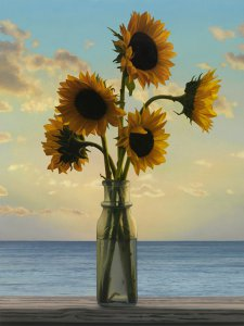 Scott Prior, Sunflowers at Sunrise, 2015, oil on panel, 20 x 15 inches
