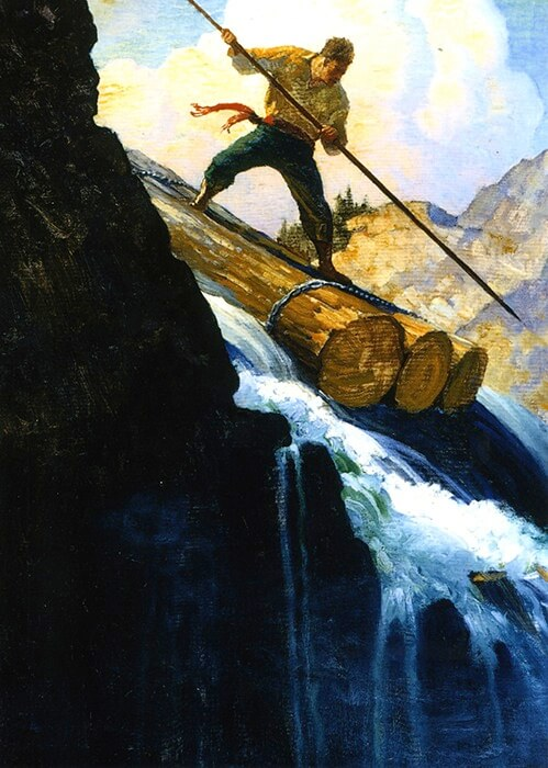 N.C. Wyeth (1882-1945), Octave Plunged (SOLD), 1920, oil on canvas, 36 x 25 inches