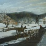 Barclay Rubincam (1920 - 1978), Exercising the Hounds on the Green Valley Road, 1968, pastel on paper, 40 x 32 inches