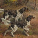 Edmund Henry Osthaus (1858 - 1928), English Setters, watercolor, 24 x 32 inches