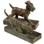 Edith B. Parsons (1878 - 1956), Terriers, bronze, both approx. 5 x 8 x 3 inches