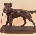 Jules Moigniez (1835 - 1894), Setter and Pheasant, late 19th/early 20th cen., bronze, 17 x 9 x 24 inches