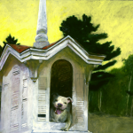 Jamie Wyeth, That Dog's House, 2008, combined mediums on toned paper board, 31 1/2 x 39 1/4 inches
