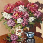 Susan Mackey, Peonies with White Stock, oil on canvas, 30 x 30 inches