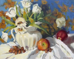 Susan Mackey, White Tulips and Apples, oil on canvas, 24 x 20 inches