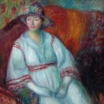 William Glackens (1870 - 1938), Woman with Poodle, oil on canvas, 25 x 30 inches