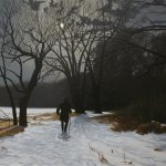Peter Sculthorpe, Alone with the Moon, 2014, oil on linen, 24 x 24 inches