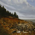 Peter Sculthorpe, Along the Trail, Monhegan, 2014, oil, 8 x 8 inches