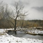 Peter Sculthorpe, Last Snow on Buck Run, 2014, oil, 16 x 24 inches