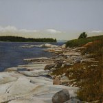 Peter Sculthorpe, Near Jonesport, Beal Island, Maine, 2014, oil, 8 x 8 inches