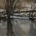 Peter Sculthorpe, Winter in Frog Hollow Study, 2014, oil, 10 x 20 inches