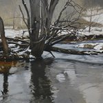 Peter Sculthorpe, Winter in Frog Hollow, 2014, oil, 22 x 40 inches