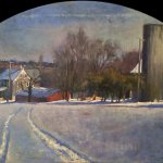Michael Doyle, Late Afternoon Winter, 2014, oil on carved board, 24 1/4 x 40 inches (arched)
