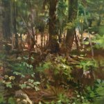 Michael Doyle, Light in the Forest, 2014, oil on board, 10 x 10 inches