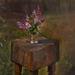 Michael Doyle, Lilacs, 2014, oil on linen, 30 x 36 inches