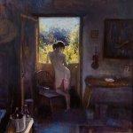 Michael Doyle, Nude in Studio Door, 2014, oil on board, 30 x 30 inches
