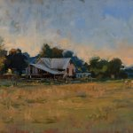 Michael Doyle, Summer Evening, 2014, oil on masonite, 13 1/2 x 23 3/4 inches