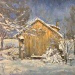 Michael Doyle, Winter Studio, 2014, oil on board, 8 3/4 x 8 1/4 inches