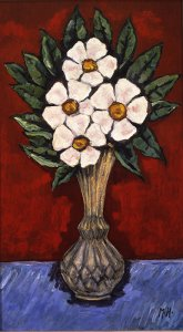 Marsden Hartley (1877 - 1943), Flowers in Vase (Wild Roses), c. 1936-37, oil on board, 27 x 14 1/4 inches