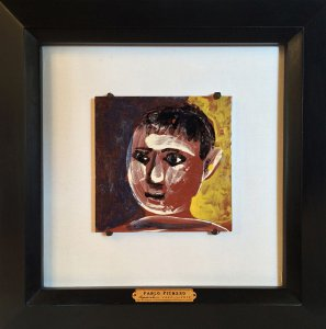 Pablo Picasso, Tête d'enfant, 1961, hand painted red terra cotta, 8 1/8 x 8 1/8 inches